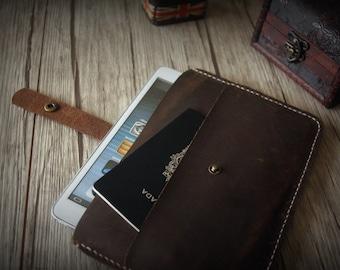 Hand Sewn iPad Mini Sleeve, Distressed Brown Leather iPad Mini Case - Custom Kindle, Nexus, Samsung, Kobo Covers