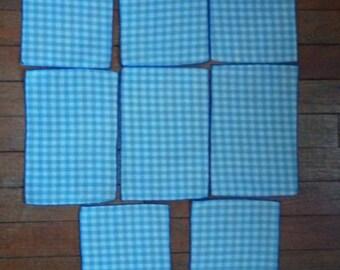8 Blue & White Gingham Napkins