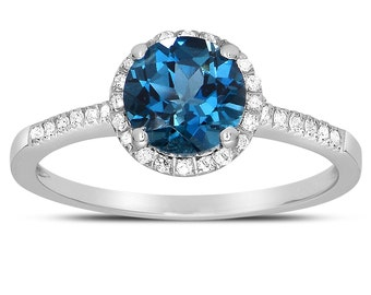 Round-cut London Blue Topaz Ring with Diamonds in 14K White Gold, Fine Jewelry.