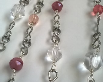 Bubblegum Pink Beaded Opera Length Necklace