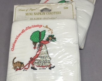 Vintage Holly Hobbie Christmas Mini Napkin Coasters New in Package Set of Two House of Paper Amercian Greetings