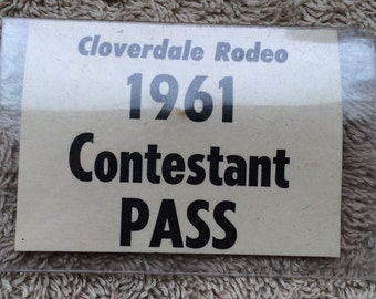 Vintage Cloverdale Rodeo Contestant Pass 1961 Paper Ephemera Cowboy Cowgirl