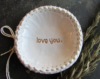 Gold Love You Ring Dish