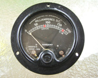 Vintage Sangamo Weston Model 506 Milliamperes DC Panel Meter 0-200