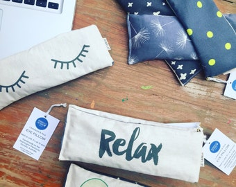 Relax Eye pillow filled with organic lavender and Australian brown rice.