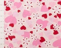 Pink & Red Heart Medium Weight Knit Fabric