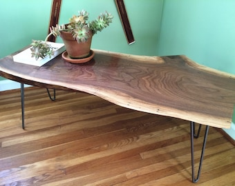 SOLD // Live Edge Walnut Slab Coffee Table // Reclaimed Ohio Black Walnut // Steel Hairpin Legs