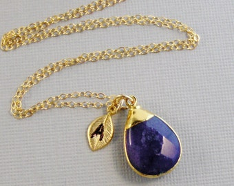 Sapphire Necklace with Leaf,Sapphire Necklace,Sapphire Jewelry,Leaf Necklac,Leaf Jewelry,Gold Necklace,Personalized,CustomSea Maiden Jewelry
