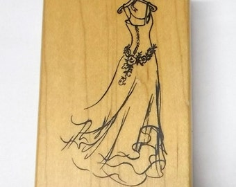 Paris unmounted rubber stamp sheet renaissance by for Wedding dress rubber stamp