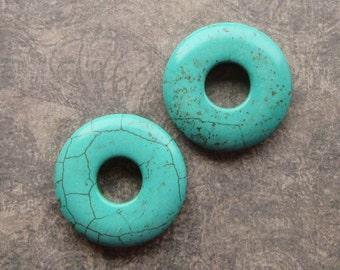 2Turquoise Donut Pendants, 38mm Imitation Gemstone