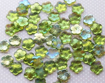 pk of 6 Czech Pressed Glass Beads, Flowers, Green Ab AB 20mm