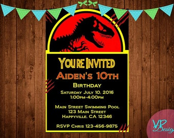 Jurassic Park Birthday Invitations, Digital File, DIY Printing