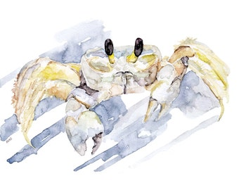 "Ghost Crab Painting - Print from Original Watercolor Painting, ""Crab Hunting"", Beach Decor, Crab, Under the Sea"