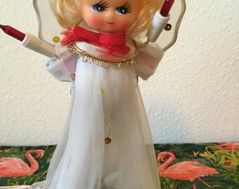 Antique Doll Angel Light Up Christmas Tree Topper