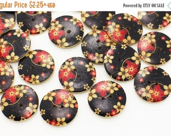 Black Sakura Wooden Button, Japanese Floral Button, Coat Button, Red Flowers,  Decorative Button, Two Holes Wood Button, 25mm