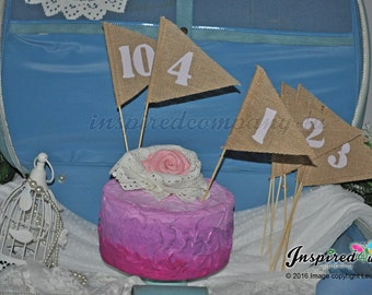 LAVENDER Table Numbers 1-10 Hessian Burlap  Flag Pennant  Wedding 2016 Colour options  Custom Top Table