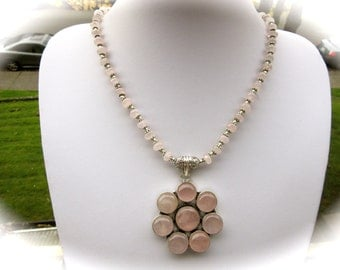 Beautiful Natural Rose Quartz Crystal Sterling Silver Pendant Necklace