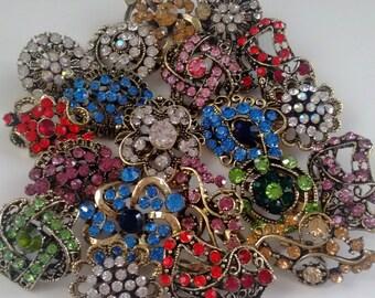16 pc Vintage style brooch lot,  Colorful Rhinestone Brooches Wedding Flower Brooch Pin Wholesales DIY Wedding Brooch Bouquet Lot