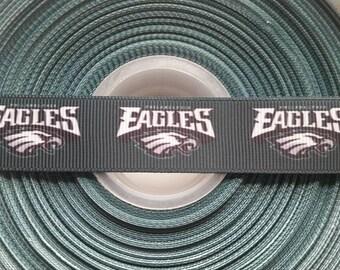 "PHILADELPHIA EAGLES Green 7/8"" Grosgrain Hair Bow Craft Ribbon 2492"