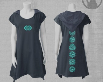 Handmade hooded  dress with CHAKRAS  vinyl print-neon-Psy-Festival Wear-psychedelic clothing-Psy clothing-Burning man