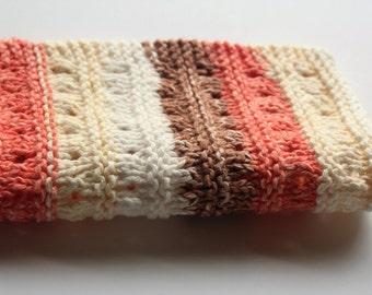Striped Knit Dishcloth,  Earth Tones Dishcloth, Knitted Washcloth, Cotton Washcloth, Cleaning Cloth, Housewarming Gift