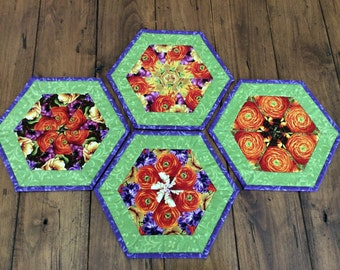 Kaleidoscope Quilted Mug Rugs Set of 4, Floral Hexagon Coasters, Candle Mats, Mini Placemats, Unique Coffee Table Decor