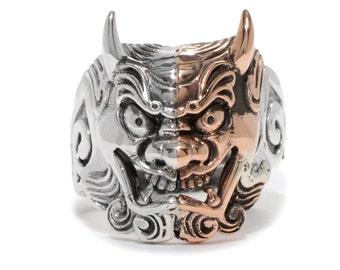 Japanese Devil Demon Hannya Mask Oni Adjustable Ring in Sterling Silver