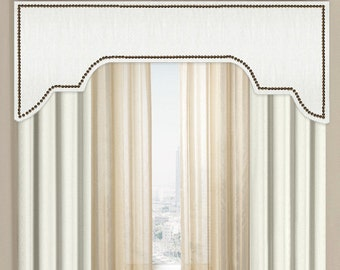 Custom Cornice Board Pelmet Box Window Treatment in White Slub with Nailhead Trim - Custom Curtain Topper in Modern Fabric Nail Head