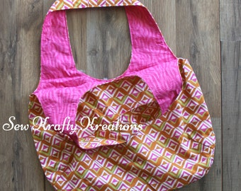 Tote Bag - Multi Color Geometric Shapes with Pink Zebra Lining