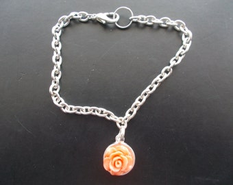 1 Beautiful Handmade Bracelet  with peach rose on it for special someone