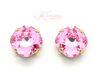 LIGHT ROSE Limited Edition 12mm Crystal Cushion Cut Stud Earrings Swarovski Elements *Pick Your Finish *Karnas Design Studio