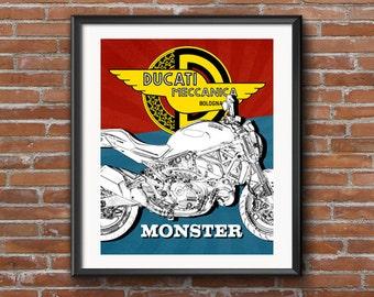 "Ducati Monster wall art, Motorcycle Art, Garage Art, Man Cave Art, Instant Download, Retro style Poster, Ducati Art, Superbikes, 8x10"""