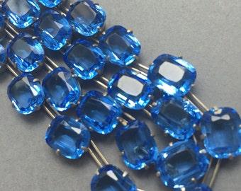 Art Deco Sterling Silver Blue Open Back Blue Necklace