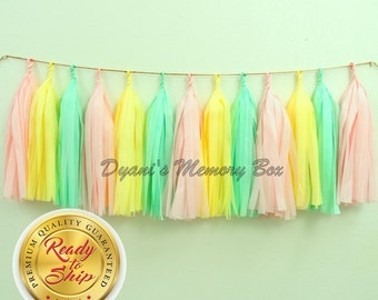 Mint, Blush, Yellow Handmade Tissue Tassel Garland / Baby Shower Tassel Garland / Pastels Party Decor