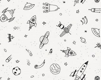 Onyx and White Rockets Organic Fabric - By The Yard - Girl / Boy / Gender Neutral