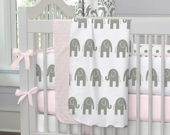 Girl Baby Bedding: Pink and Gray Elephants Crib Blanket by Carousel Designs