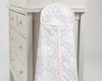 Carousel Designs Pink and Gray Damask Diaper Stacker