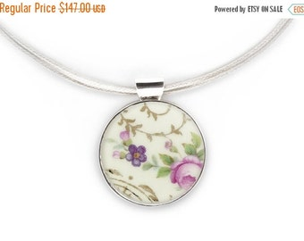 ON SALE Pink pendant, old pottery necklace, Broken China Jewelry, upcycled necklace, flowers necklace