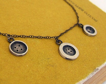 Sterling Silver Buttons Necklace