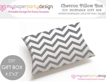 Chevron Pillow Box DIY Printable Gift Box - Gray Chevron Favor Box For Wedding favor, Baby Shower, Party- Gift for Guests- Instant Download