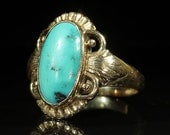 SALE Vintage Art Deco Turquoise and 14k Gold Ring by Just Andersen, Denmark