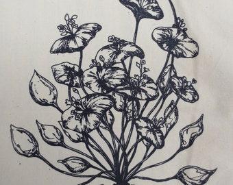 wild miner's lettuce back patch- claytonia perfoliata amara hollow bones original botanical drawing silkscreened back patch