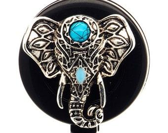 Turquoise Elephant Face ID Badge Reel - Nurse Retractable Badge Holder - SassyBadge - Slide or Alligator Clip