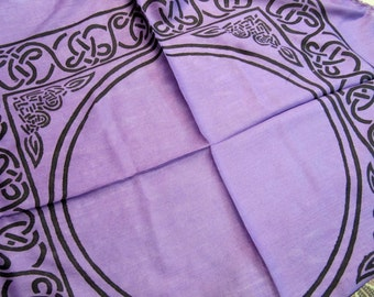 Altar Cloth, 18x18, 100% Rayon, Celtic Border, Purple/Black, Fringe Ends,Wiccan, Pagan, Chakra, Reiki, Stone Grids, Healing Stones