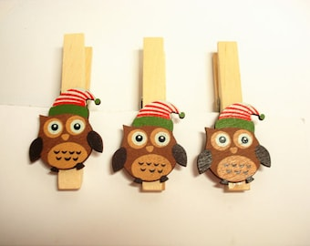 Owl  Clothespins  10 pc