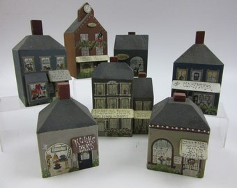 "Hand crafted Wood Block ""Village Square"" Buildings"