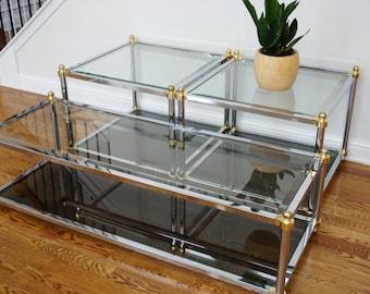 Maison Jansen Chrome And Brass Tables Set