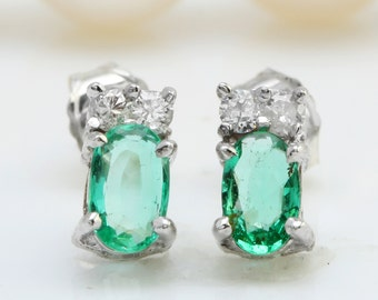 1.02CTW Natural Green Emerald & Diamond in 14K Solid White Gold Stud Earrings