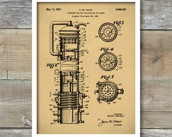 Whiskey Still Patent, Whiskey Poster, Whiskey Still Patent Poster, Bar Art Print, Bar Decor, Vintage Still, P382