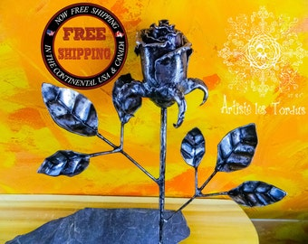 birth of love Rose  black flower iron long stem gift wedding gift 11th   6th  iron gift collector item collection home